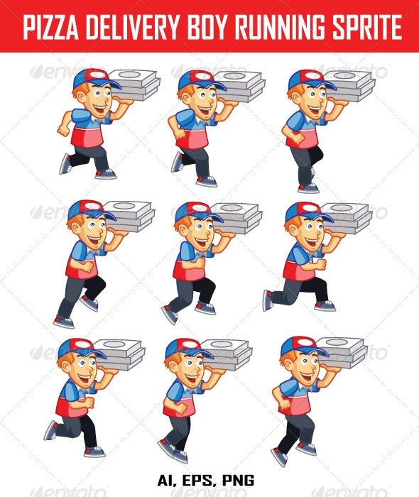 Pizza Delivery Boy Running Sprite - People Characters