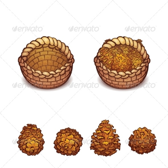 Illustration of Basket with the Pine Cones - Miscellaneous Vectors