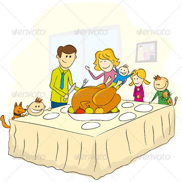 Thanksgiving Day Illustration With Family