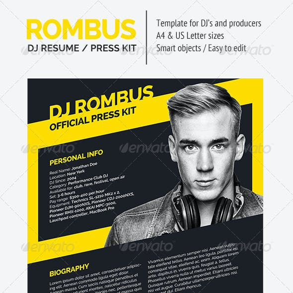 Rombus - DJ Resume / Press Kit PSD Template