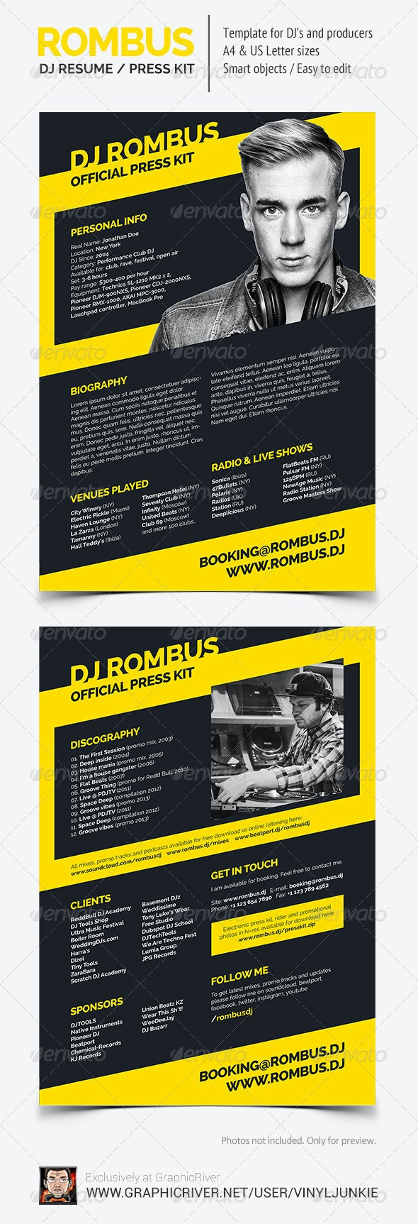 Rombus - DJ Resume / Press Kit PSD Template - Resumes Stationery