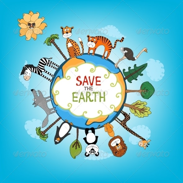 Save the Earth Concept Illustration - Animals Characters