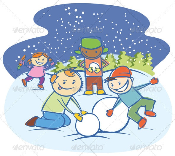 Kids Making The Snow Man - People Characters