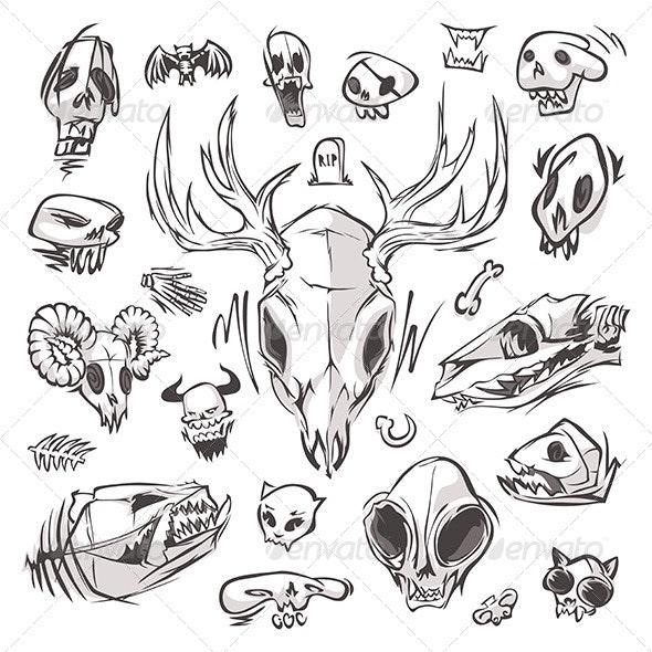 Diverse Skulls and Bones Set - Miscellaneous Characters