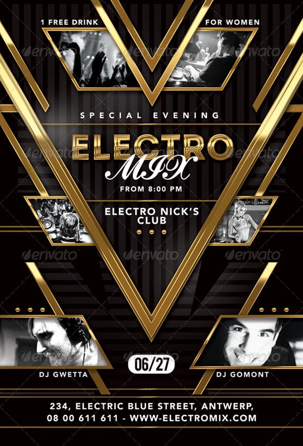 Special Evening Electro Mix Party In Club - Print Templates