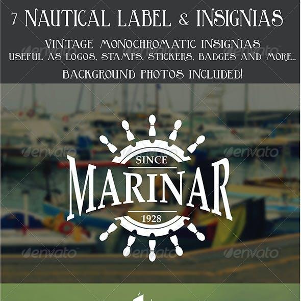 7 Vintage Nautical Insignias Logo