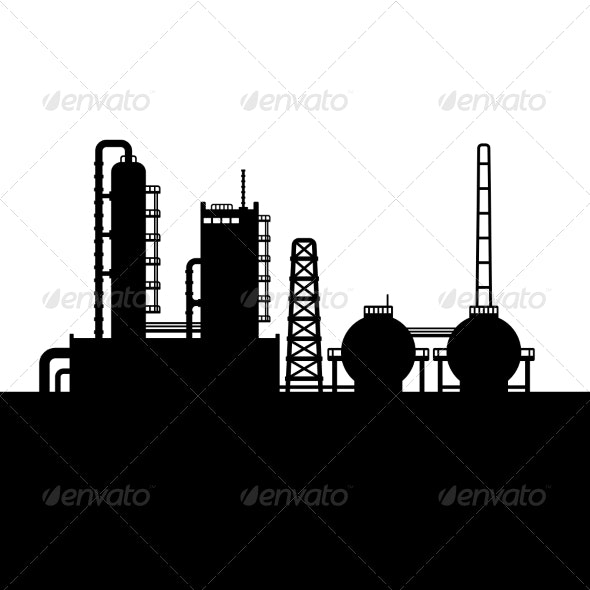 Oil Refinery Plant and Chemical Factory Silhouette - Buildings Objects