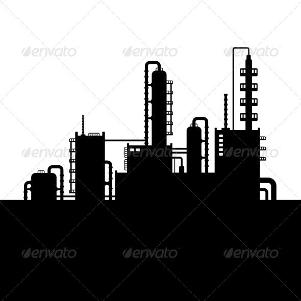 Oil Refinery Plant and Chemical Factory Silhouette