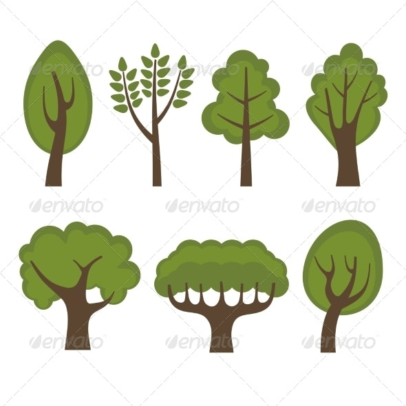 Set of Different Green Trees Cartoon Style - Seasons Nature