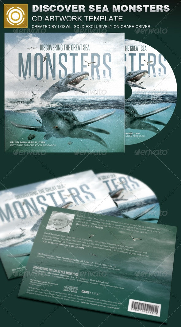 Discover Great Sea Monsters CD Artwork Template - Print Templates