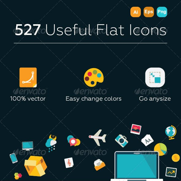 527 Useful Flat Icons