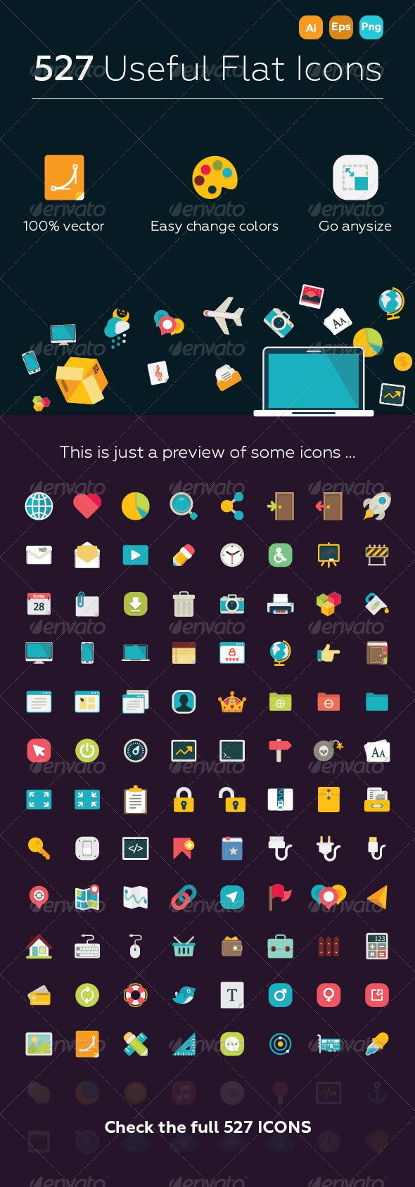 527 Useful Flat Icons - Miscellaneous Characters