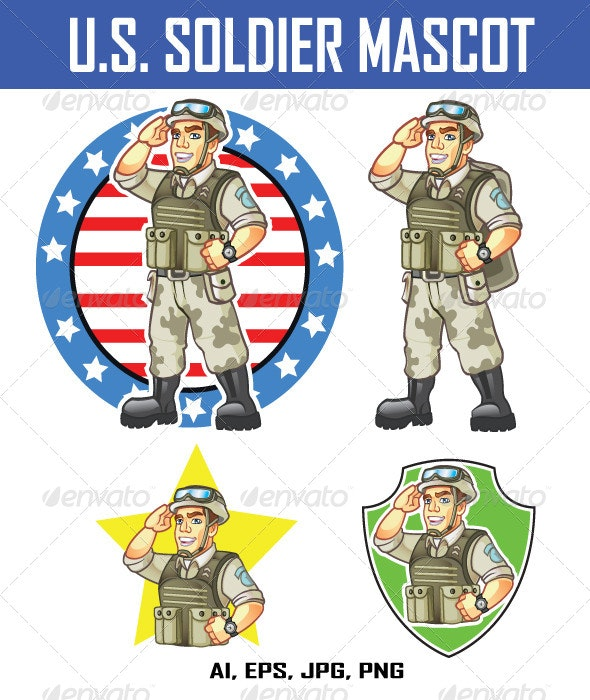 US Soldier Mascot - People Characters