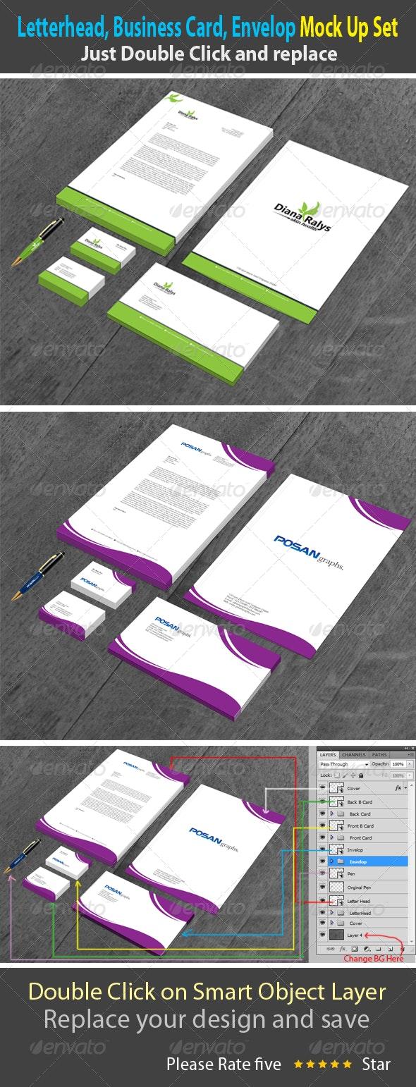 Letterhead, Business card, Envelope Mock-Up - Product Mock-Ups Graphics
