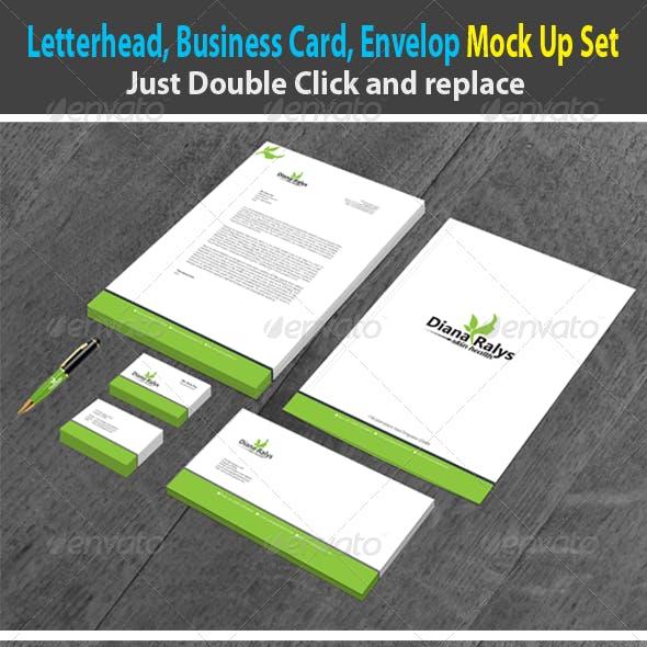 Letterhead Business Card Envelope Mock Up