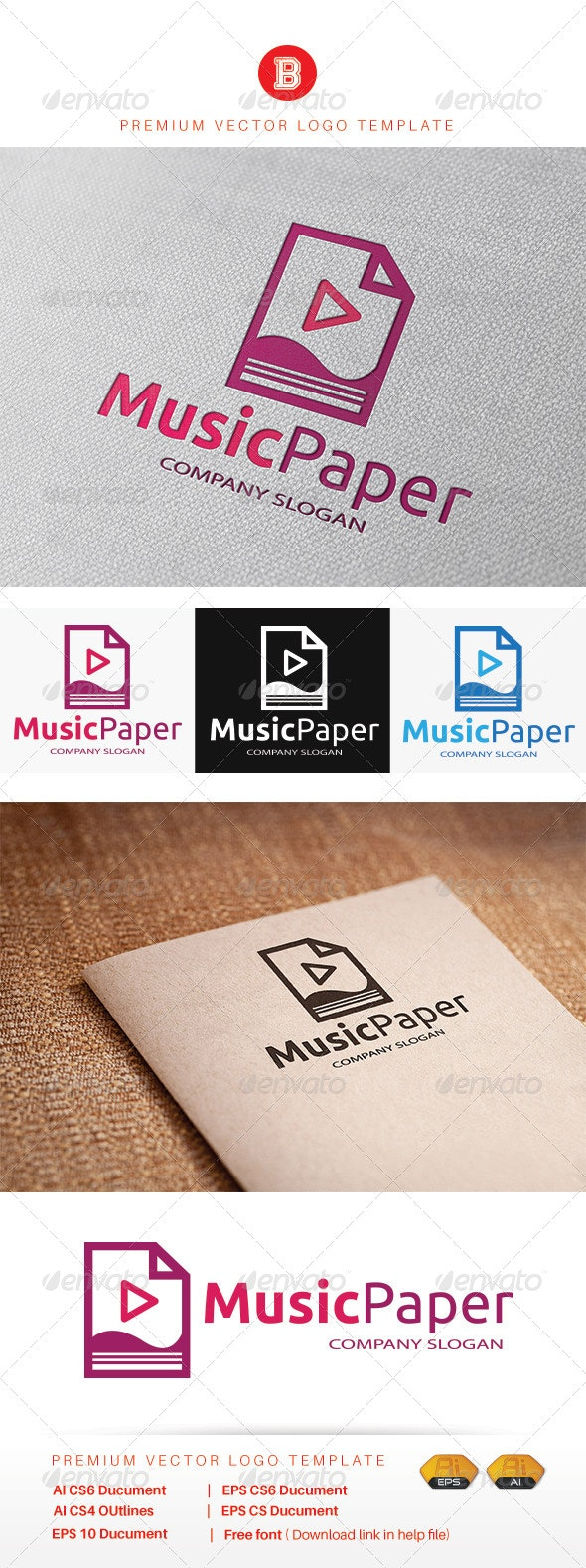 Music Paper - Objects Logo Templates