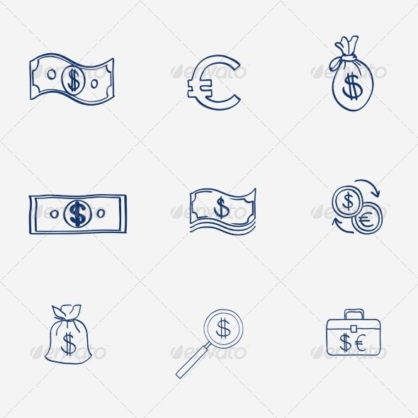 Money Icons Set Doodle Sketch Hand Drawn - Business Illustrations