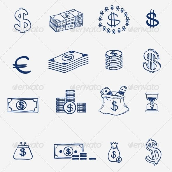 Money Icons Set Doodle Sketch Hand Drawn
