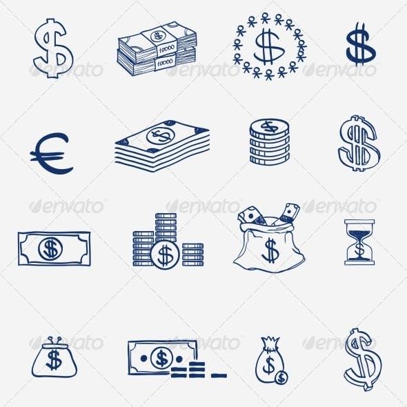 Money Icons Set Doodle Sketch Hand Drawn