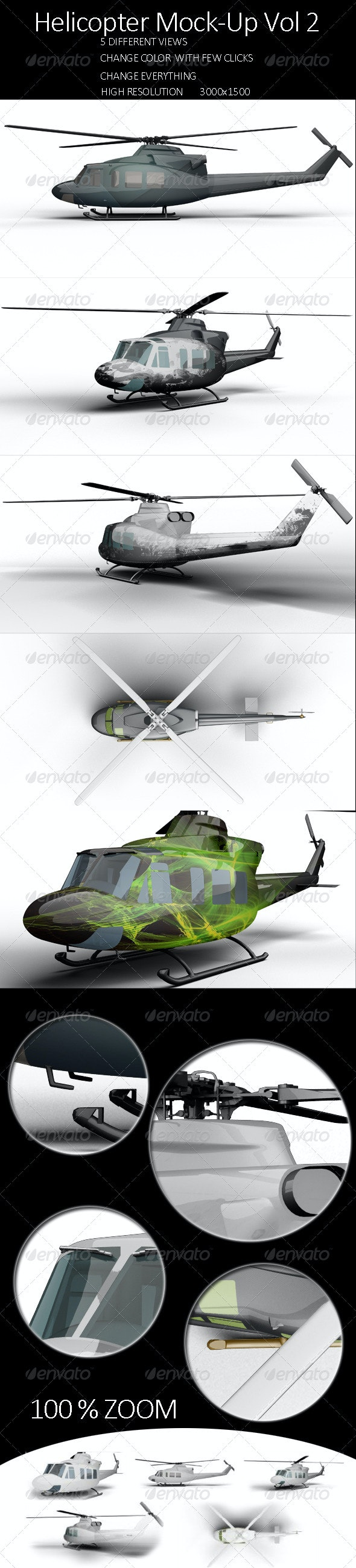 Helicopter Mock-Up Vol 2 - Product Mock-Ups Graphics