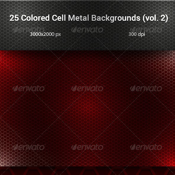 Colored Cell Metal Backgrouds Set (vol. 2)