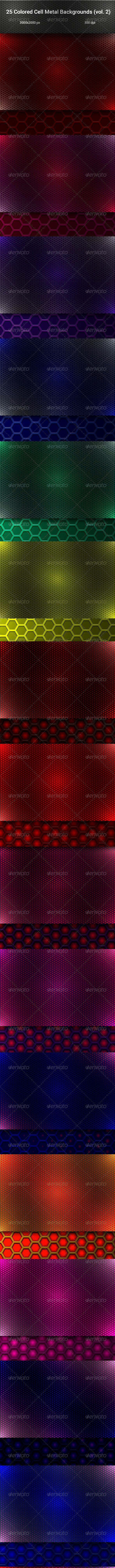 Colored Cell Metal Backgrouds Set (vol. 2) - Backgrounds Graphics