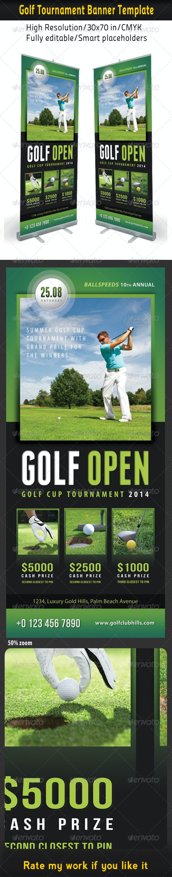 Golf Event Banner Template 02 - Signage Print Templates
