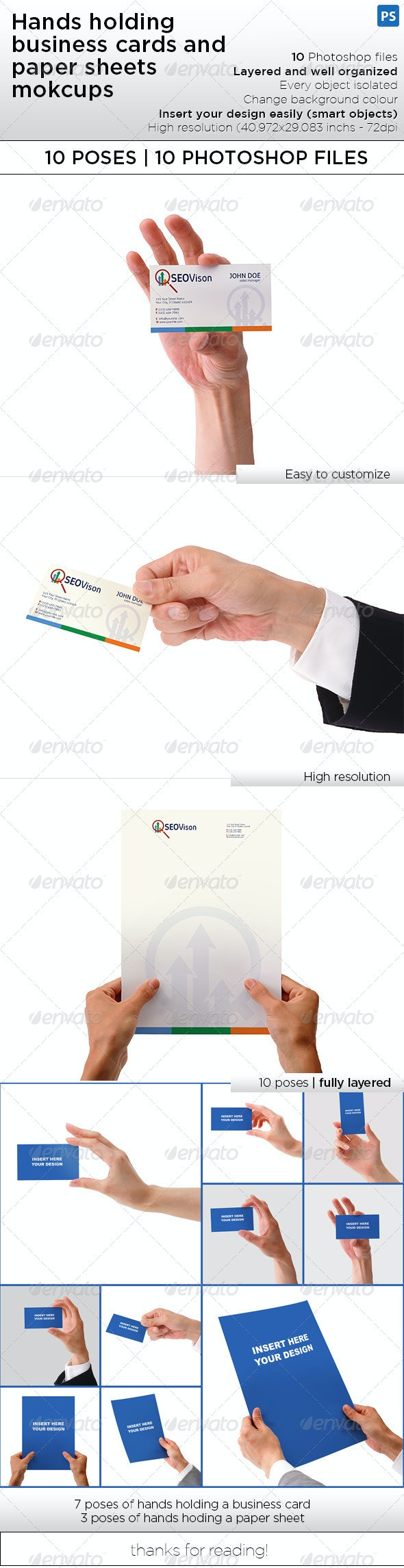 Hand Holding Business Card and Paper Sheet Mockups - Miscellaneous Print