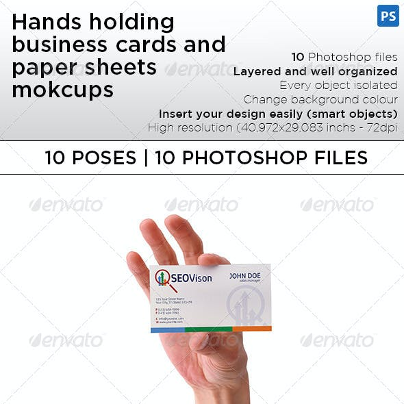 Hand Holding Business Card and Paper Sheet Mockups