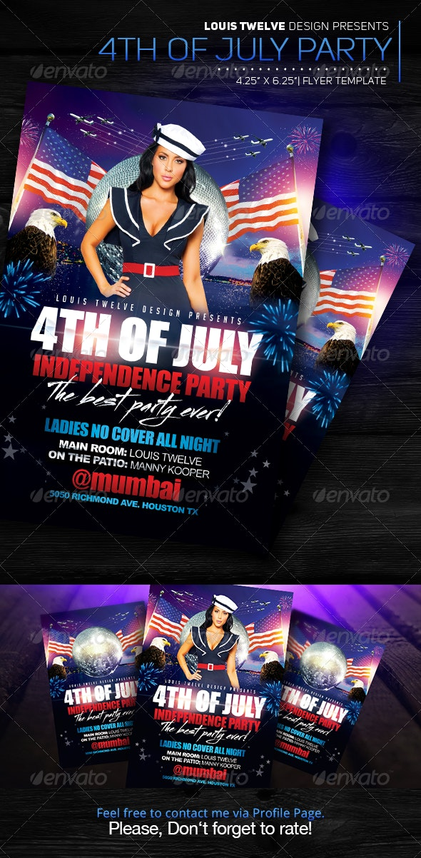 4th of July Independence Day | Flyer Template - Clubs & Parties Events