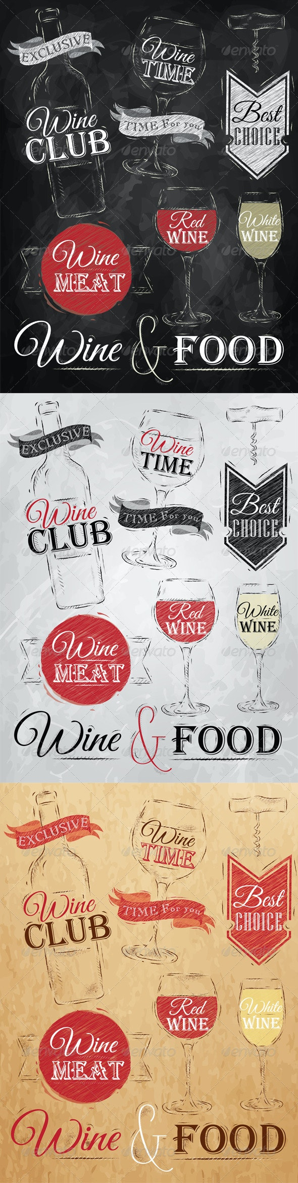 Collection of Wine - Food Objects