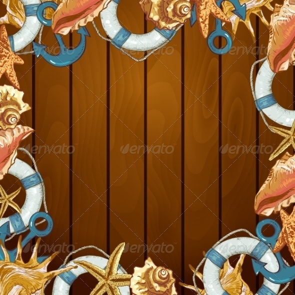 Summer Card with Sea Shells, Anchor, Lifeline  - Patterns Decorative
