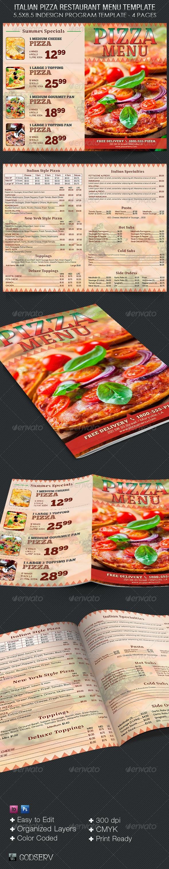 Italian Pizza Restaurant Menu Template - Food Menus Print Templates