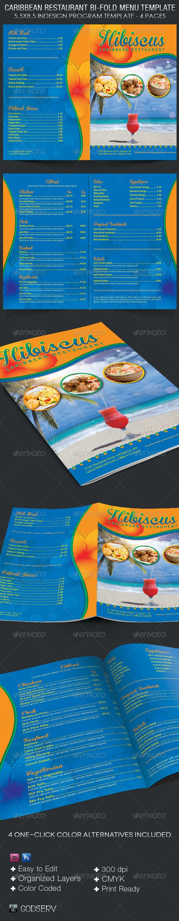 Caribbean Restaurant Menu Template - Food Menus Print Templates