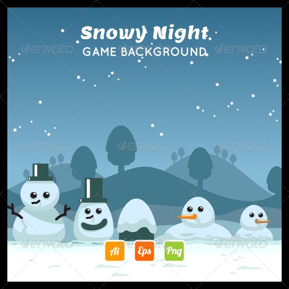 Snowy Night Game Background