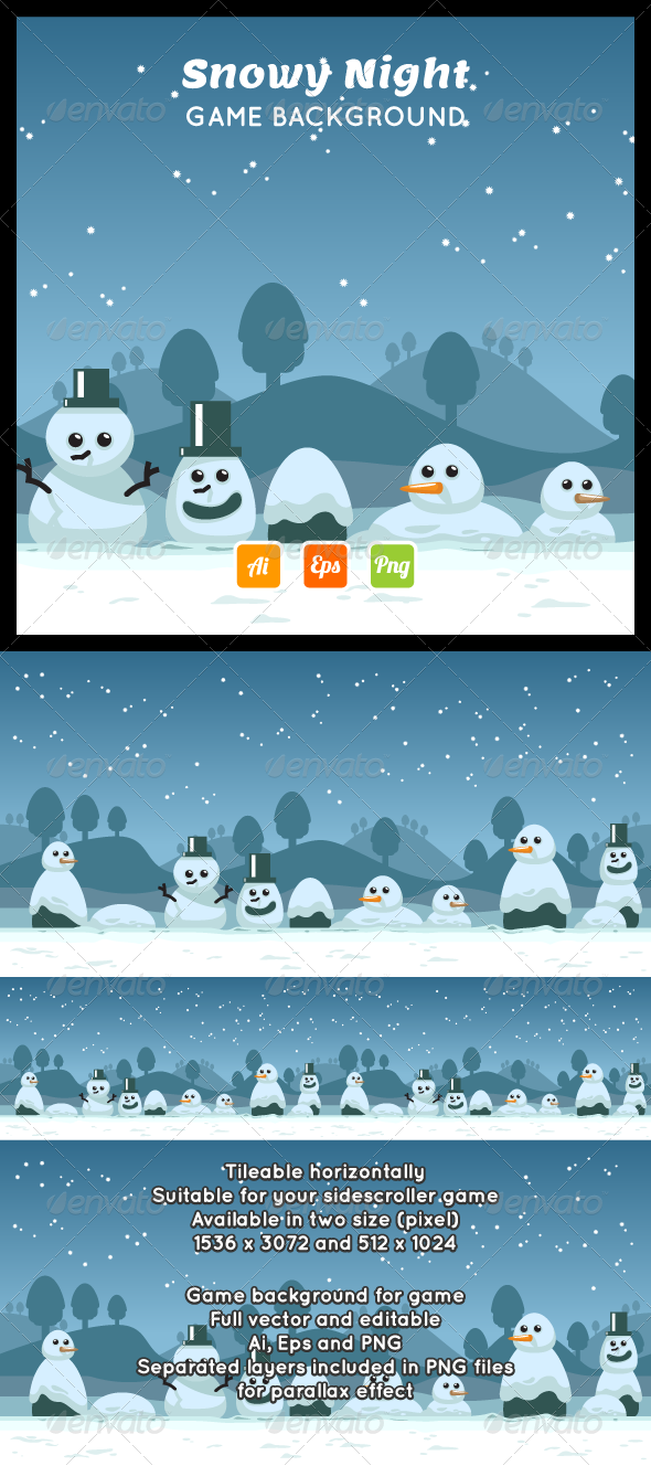 Snowy Night Game Background - Backgrounds Decorative