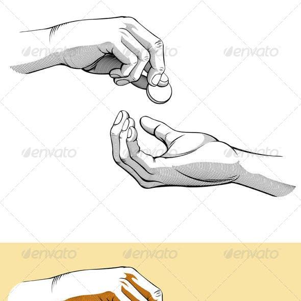 Hands Giving & Receiving Coin of Money