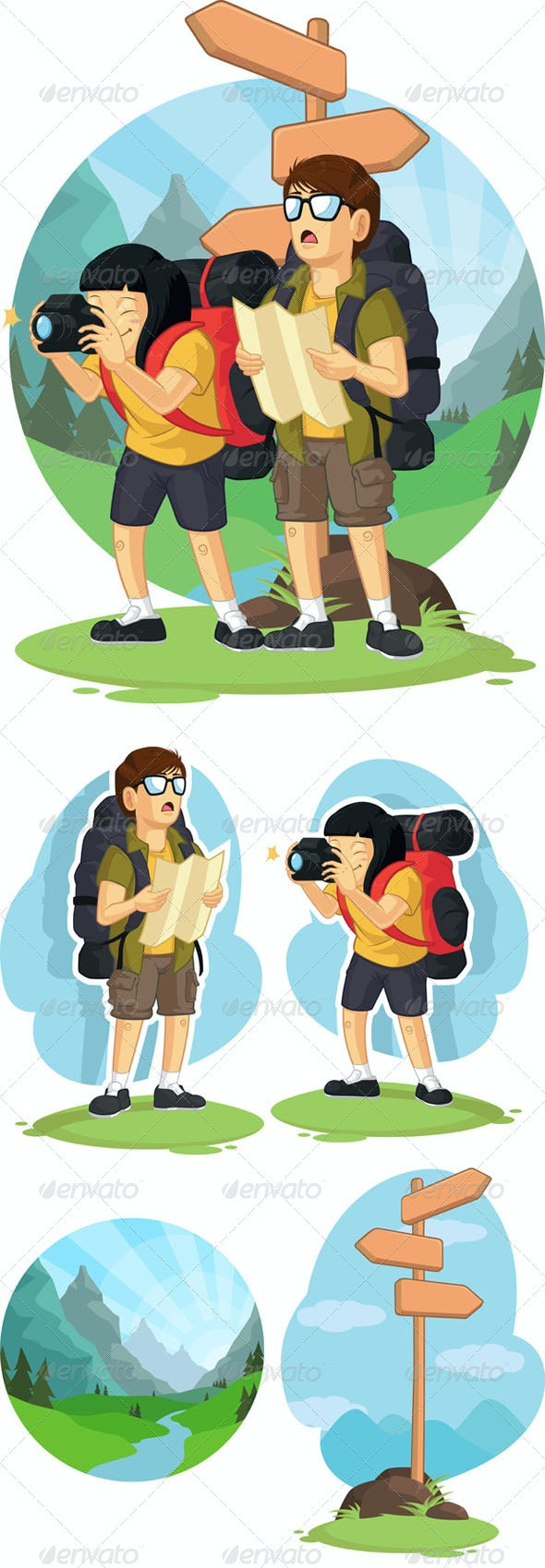 Mountain Hiking or Backpacking - Travel Conceptual