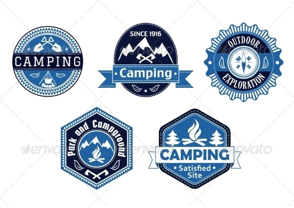 Camping Emblems and Labels for Travel Design - Travel Conceptual