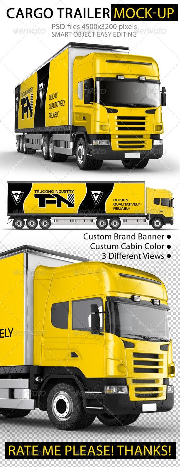 Branded Trailer (Truck) Mock-Up - Vehicle Wraps Print