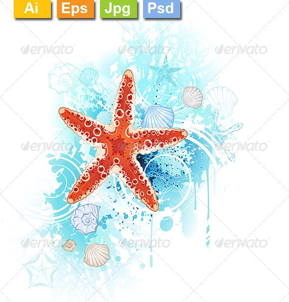 Red Starfish - Decorative Symbols Decorative