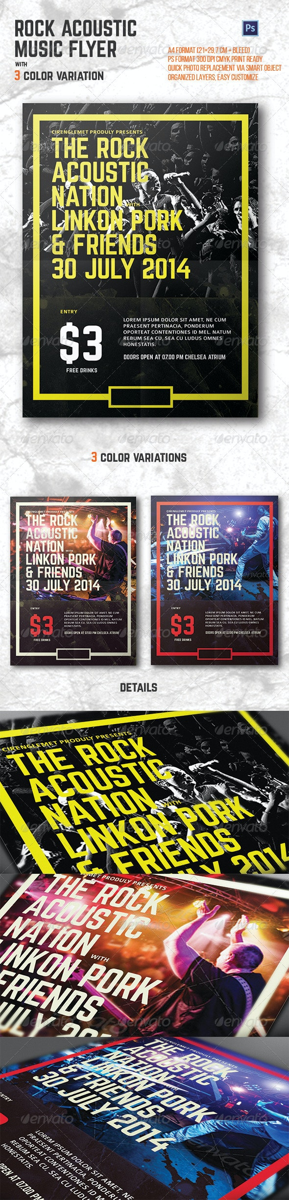 Rock Acoustic Music Flyer - Concerts Events