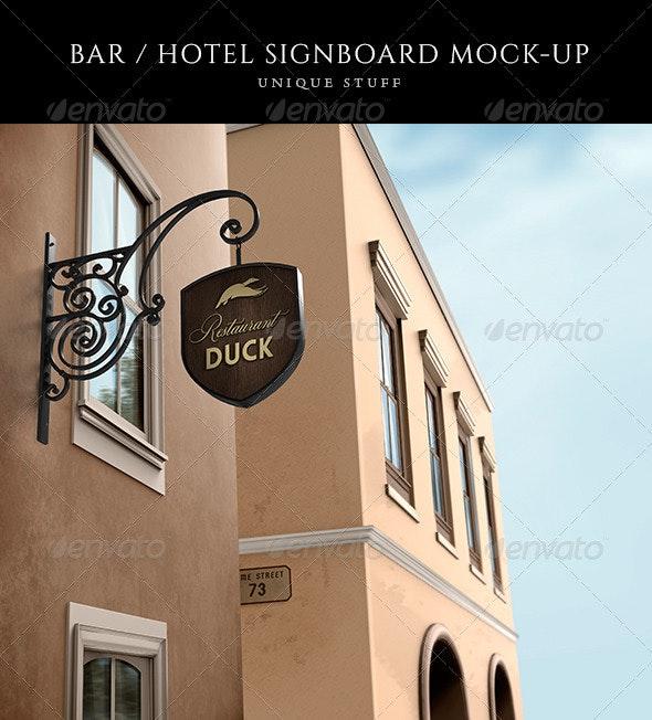 Wine Bar / Restaurant Signboard Mock-Up - Product Mock-Ups Graphics