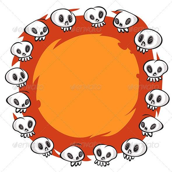 Cartoon Skulls Round Frame on White Background - Backgrounds Decorative