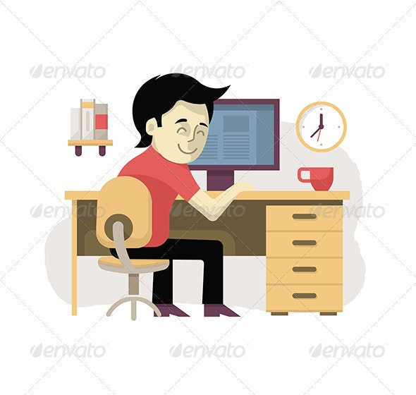Freelancer at His Workplace - Business Conceptual