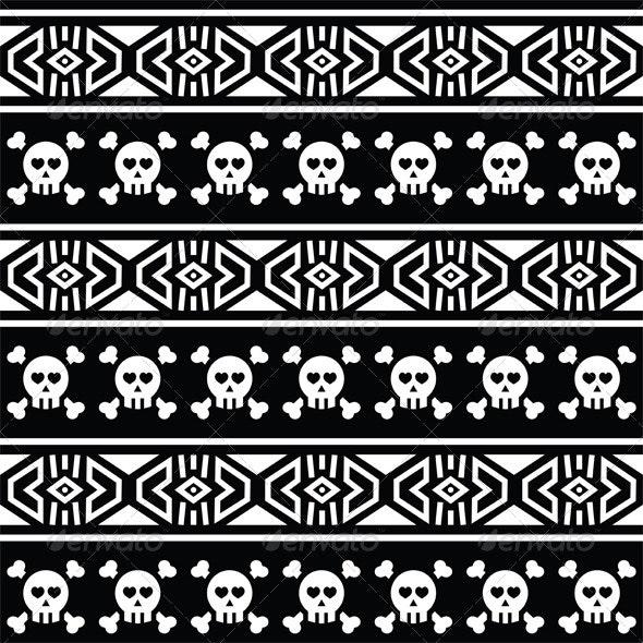Tribal Aztec Seamless Pattern with Skull on Black  - Patterns Decorative