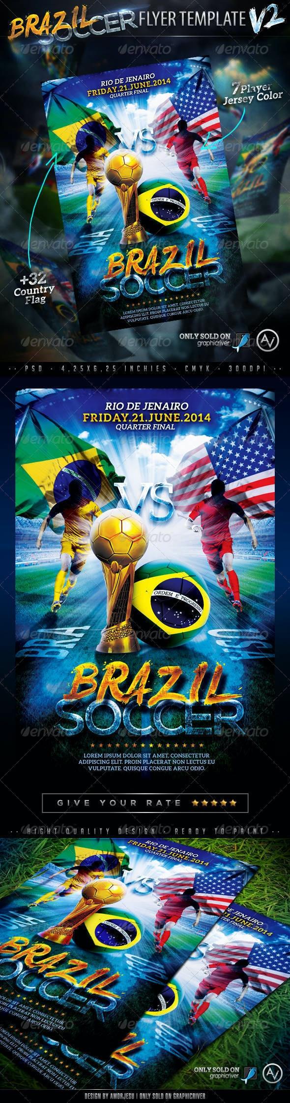 Brazil Soccer Flyer Template V2 - Sports Events