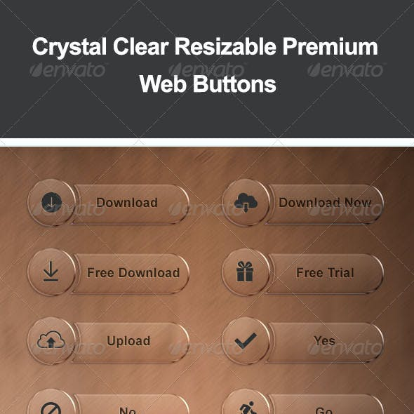 Crystal Clear Resizable Premium Web Buttons