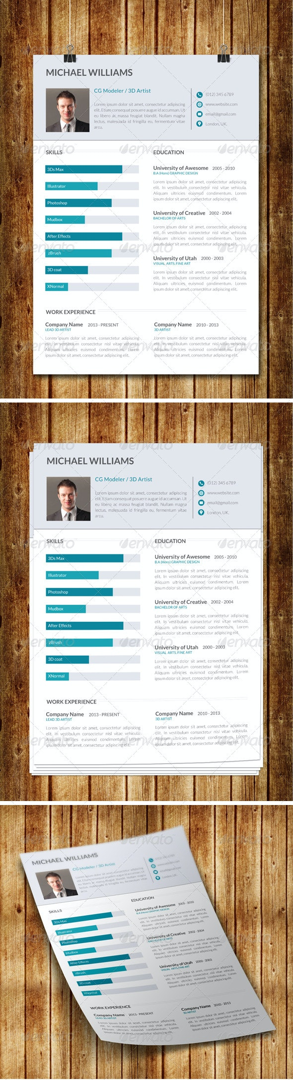 Clean Modern Resume V8 - Print Templates