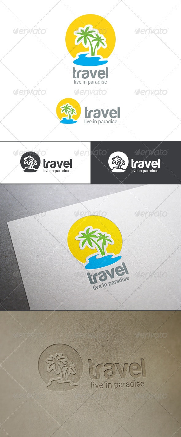 Logo Travel Palm Island - Nature Logo Templates